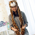Cartoon Animals Tiger / leopard / cat Plush Warm hat Cap with Long Scarf Gloves Fashion Cute women men Children Soft winter cap