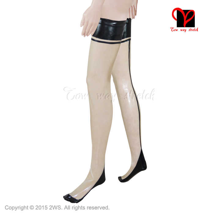 e41890ac61e61 ... Sexy Latex seamed stockings Over knee long Rubber thigh high Glam feet  tights Cuban French Havana ...