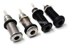 2pcs Niko Silver/Black Guitar Bass Threaded Cylinder Output Jack Plug Socket Plate 1/4
