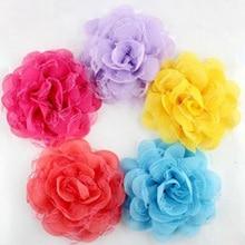 20pcs/lot 3.75″ Chiffon Lace Flower no clips Fabric Rosette Silk Flower girls headwear Charlotte Tulle Puff  Organza Flower