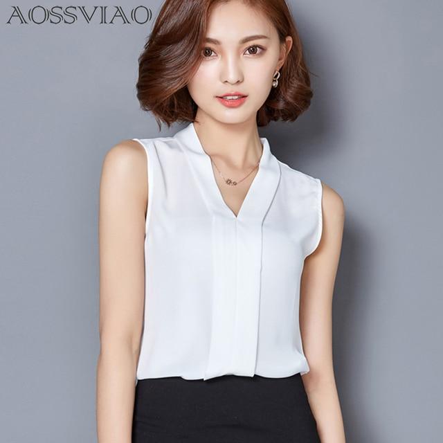 bd01b03c574 New 2019 Summer Chiffon Blouse Shirt Women V-neck Sleeveless White top  Blouses Shirts Female