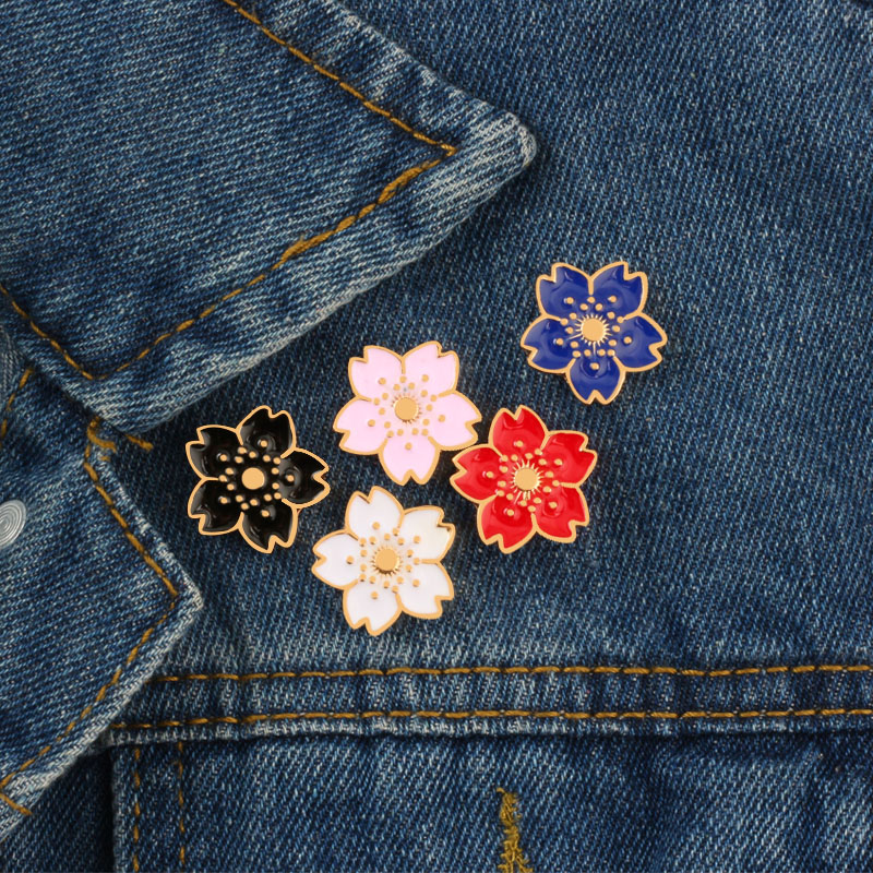 Korean Style Cherry Blossoms Brooches Badge Women Jackets Button Pins Sweater Enamel Pin Jewelry For Friend Kid Accessories Gift image