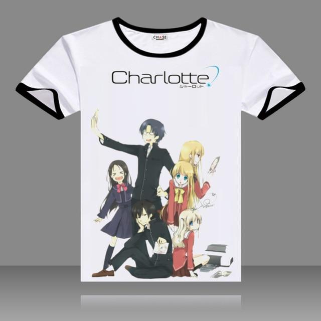 Anime Charlotte T-shirts Black O-Neck Short Sleeve Nao Tomori Tops Fashion Printed Fancy Tees Summer t shirts
