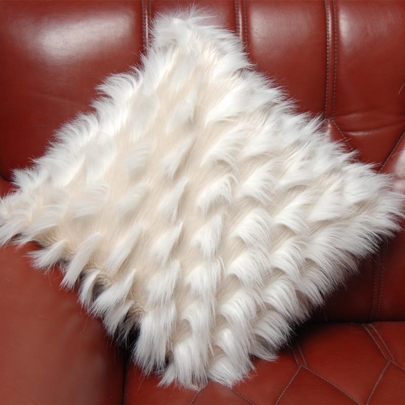 Korea Luxury Fluffy Plush Sofas Cushion Cover New Soft Luxury Cushion Case Sofa Bed Car Home Room Dec Wholesale FG1063