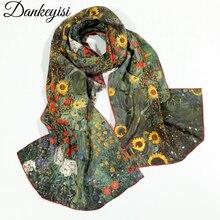 DANKEYISI, картина маслом, шелк, шарф для женщин, натуральный шелк, женский шарф, длинные шарфы, шаль, женская накидка, Летняя Пляжная накидка
