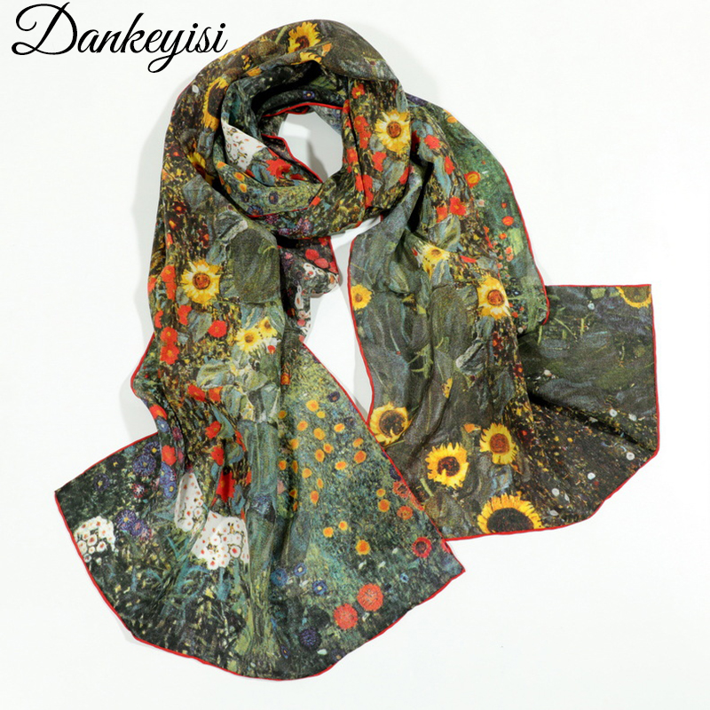 DANKEYISI Oil Painting 100% Silk Scarf Women Real Silk Women Scarf Long Scarves Shawl Female Wrap Summer Beach Cover-ups