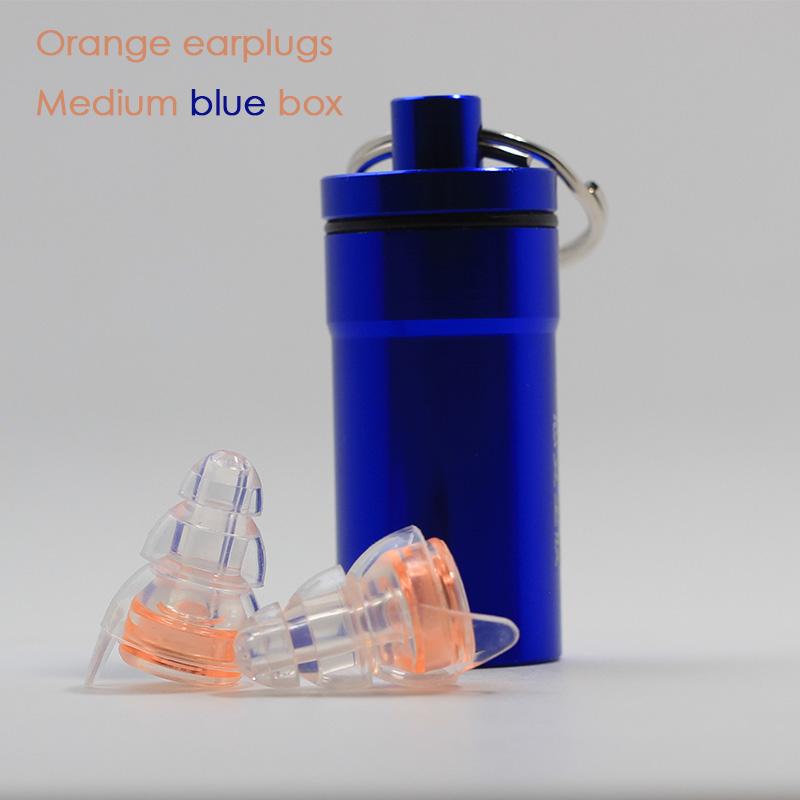 Orange earplugs + Medium blue box