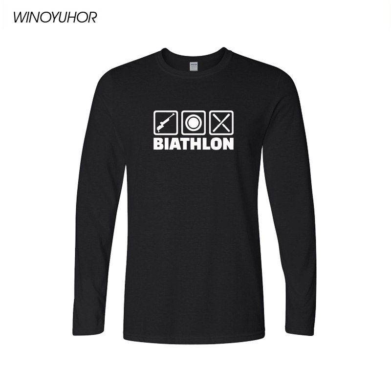 Biathlon T-shirt Funny Men Cool Shoot O-neck Men's T Shirt Spring Casual Fashion Long Sleeve Tops Tee Camisetas