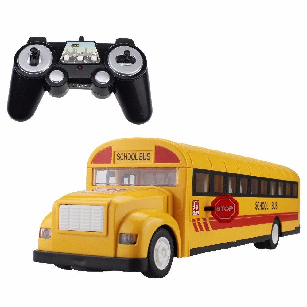 Autobus scolaires de voiture RC 2.4G autobus télécommandés ouvrant la porte une clé commençant à Transporter des jouets de passe-temps de véhicule avec son et lumière