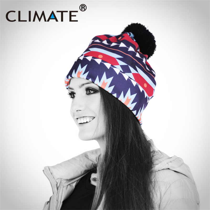 CLIMATE Women Girls Winter Warm Hat Beanies 2017 Fashion Colorful Aztec 3D Printing Pattern PompomUnique Knitted Boho Warm Hat