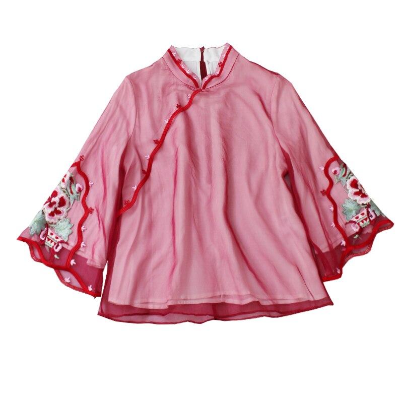 Style chinois classique femmes chemise 2019 printemps été nouveau Flare manches Blouse améliorée broderie Floral Vintage haut S M-XXL