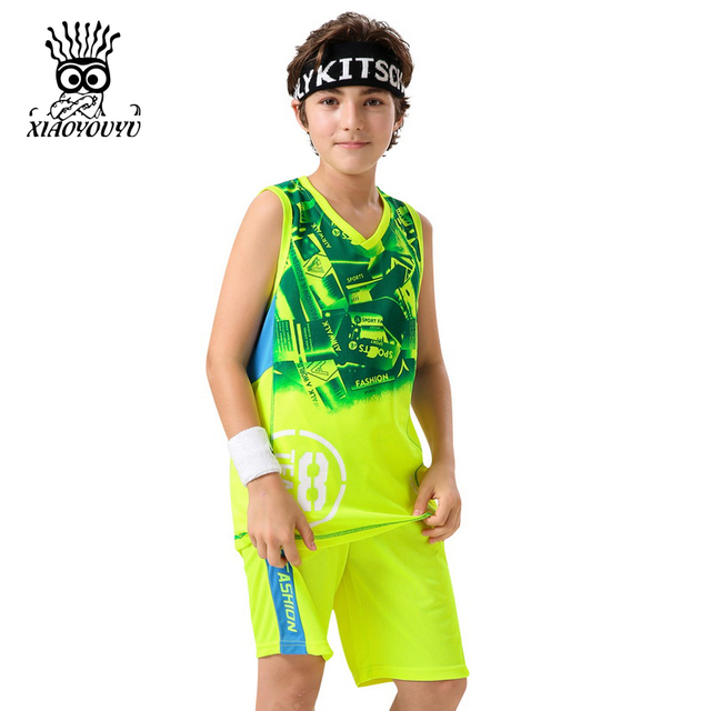 XIAOYOUYU Sleeveless Boys Casual Sets Size 130-180 Geometric Pattern Kids Clothing Sets V-neck Sports Children Summer Suits