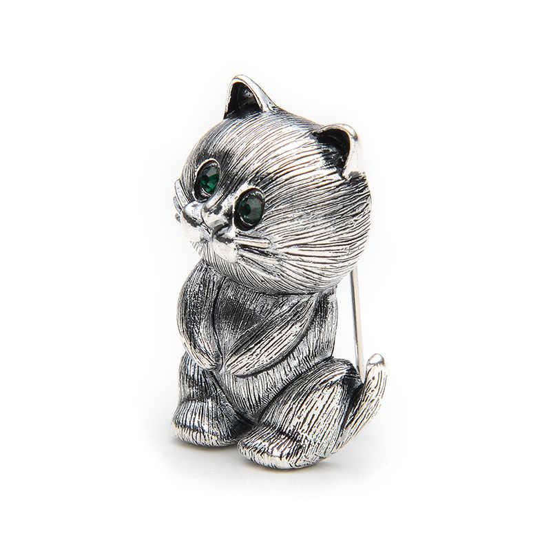 Indah Lemak Paduan Kucing Hitam Bros Cocok Sweater Scarf Pria dan Wanita Bros Pin Ukuran 3.4*2.5 Cm