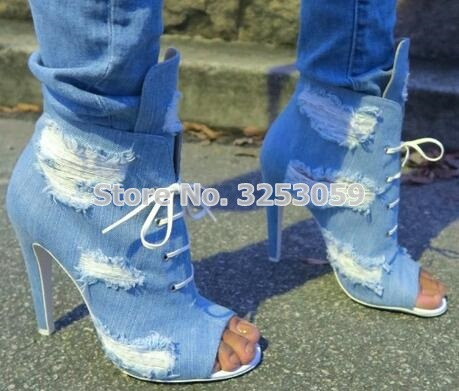 Women Sky Blue Luxurious Denim High Heel Booties Retro Style Ripped Jeans Ankle Sandal Boots Lace-up Cut-out Motorcycle Boots trendy ripped fringe lace spliced denim shorts