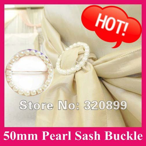 Whole 100pcs Lot 50mm Outer Pearl Belt Buckle Chair Sash Buckles Round