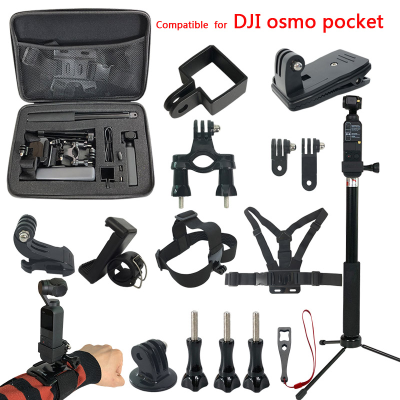 Osmo Pocket Gimbal Accessories kit for Dji Osmo Pocket Mount Extension Selfie stick Storage Bag Case Accessory Set Adapter