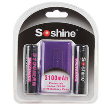 High Capacity Soshine 3100mAh Protected 18650 3.7V Li-ion Lithium Rechargeable Battery With Battery Case