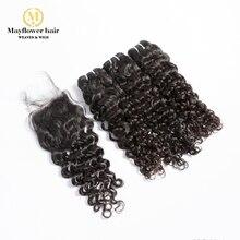 """Mayflower 3/4 пучков натуральные малайзийские волосы с 4x"""" швейцарская шнуровка итальянские локоны натурального цвета без запутывания не линяет"""