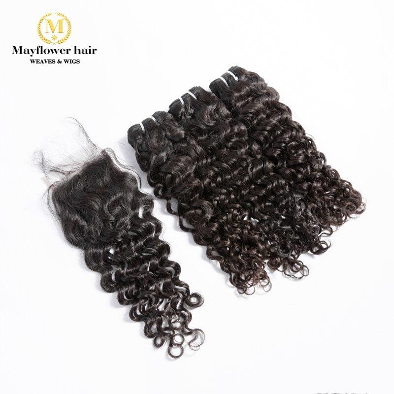 Mayflower 3/4 Bundles 100% Virgin Malaysian Hair With 4x4