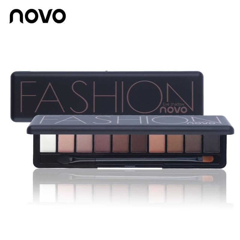 NOVO Brand Fashion 10 Colors Shimmer Matte Eye Shadow Makeup Palette Light Eyeshadow Natural Make Up Cosmetics Set With Brush