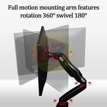 17''-27'' Desktop LED Monitor Holder NB F80 Computer Screen Monitor Mount Stand Full Motion Swivel Arm Gas Spring 4.4-14.3lbs 1