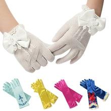 Разноцветные детские перчатки для девочек для свадебного костюмированного представления; перчатки принцессы с принтом и бантом; Детские праздничные принадлежности для дня рождения; варежки Белоснежки для девочек