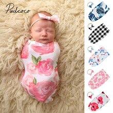 Детские постельные принадлежности для сна мешки для новорожденных пеленать Одеяло пеленка для сна муслиновая Пеленка из 2 предметов: повязка на голову и реквизит для фотографии