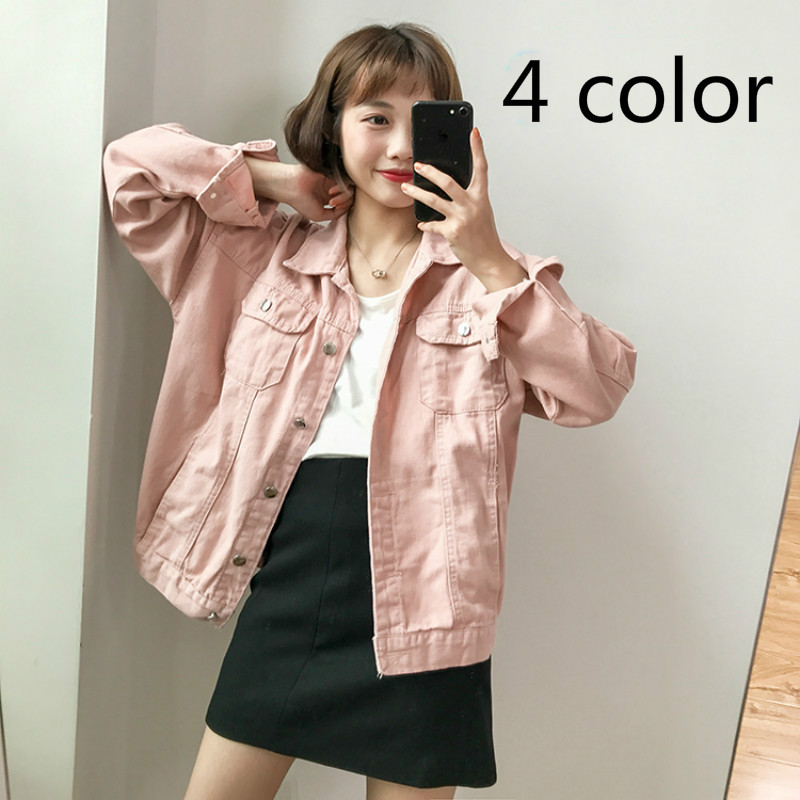 Harajuku Fashion Long Sleeve Women Denim   Jacket   Casual Loose Sweet Candy Color   Basic     Jacket   Cotton Lapel Cowboy   Jacket   Coats