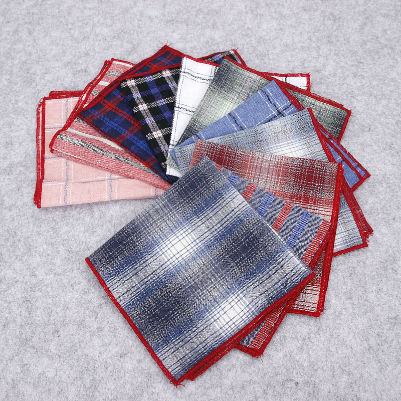 Brand New Men's Hankerchief Scarves Vintage Business Suits Hankies For Man Cotton Casual Plaid Check Pocket Square Handkerchiefs
