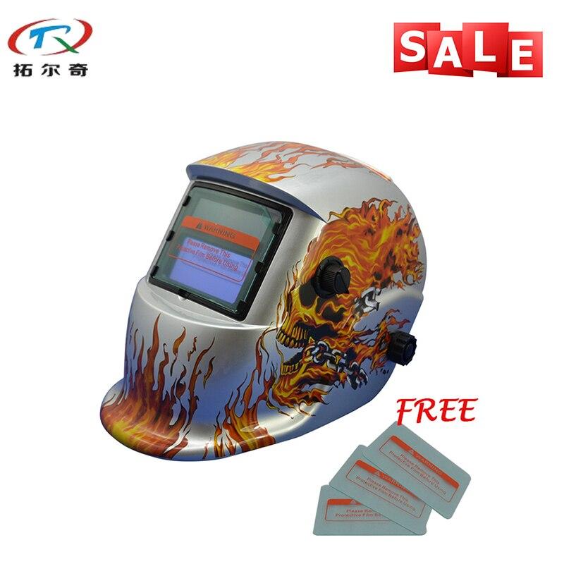 Silver Skull Fire MIG TIG Solar Energy Good Quality Light Weight Shade 9-13 Darkening Welding Helmet TRQ-HD08 with 2200de