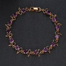 Hot Sell 18K Gold Plated Fashion Design Cubic Zircon Bracelets Bangles Luxury Wedding Bracelet Women Gift