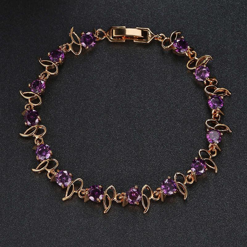 Emmaya חם למכור זהב צבע סגול קריסטל צמיד אופנה עיצוב מעוקב זירקון צמידי צמידי יוקרה חתונה צמיד