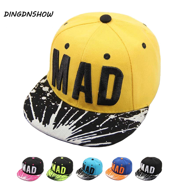 1314206c9c0  DINGDNSHOW  2019 Trend Hat Snapback Cap Children Embroidery MAD Letter  Baseball Caps Kid Boys And Girls Flat Hip Hop Cap
