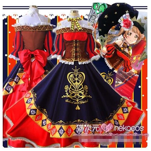 Anime Love live! Kotori Magician Cosplay Red Dress Cosplay Costume Custom Made