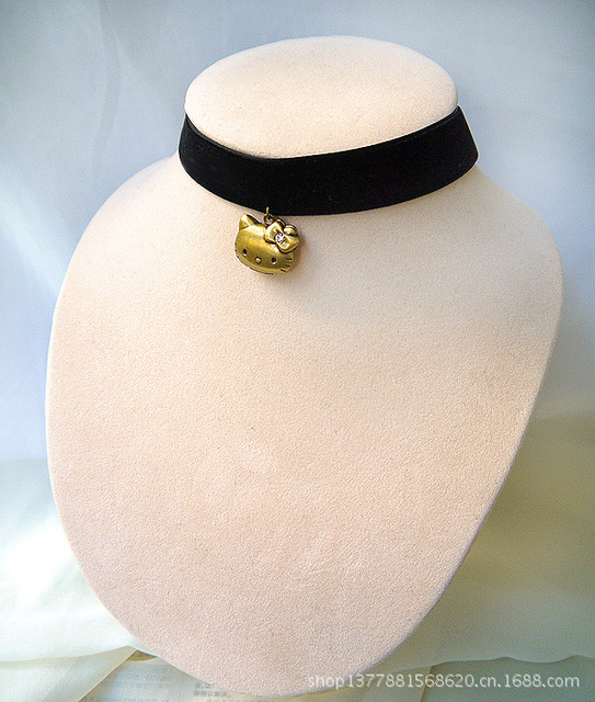 Hello Kitty Pendant ALP Handmade Fashion Black Velvet Collar Choker Necklace with Hello Kitty  Pendant