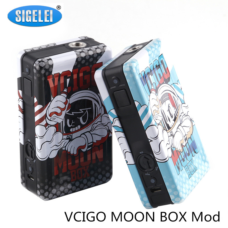 Sigelei Vcigo Moon Box Mod Cute Cartoon Print Electronic Cigarette Kit 200w Mod 2.0ml RDTA Atomizer Vape Mod Only Mod ...