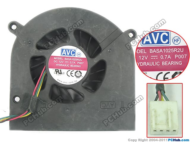 Free shipping for AVC BASA1025R2U, P007 DC 12V 0.7A 4 wire 4-pin connector Bare fan монитор philips 273v5lhab
