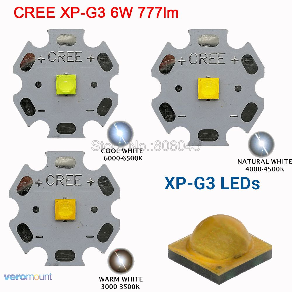 5pcs Cree XP-G3 XPG3 6W High Power LED Emitter Diode Beads Cool White Warm White Neutral White 20mm 16mm 14mm 12mm 10mm 8mm PCB