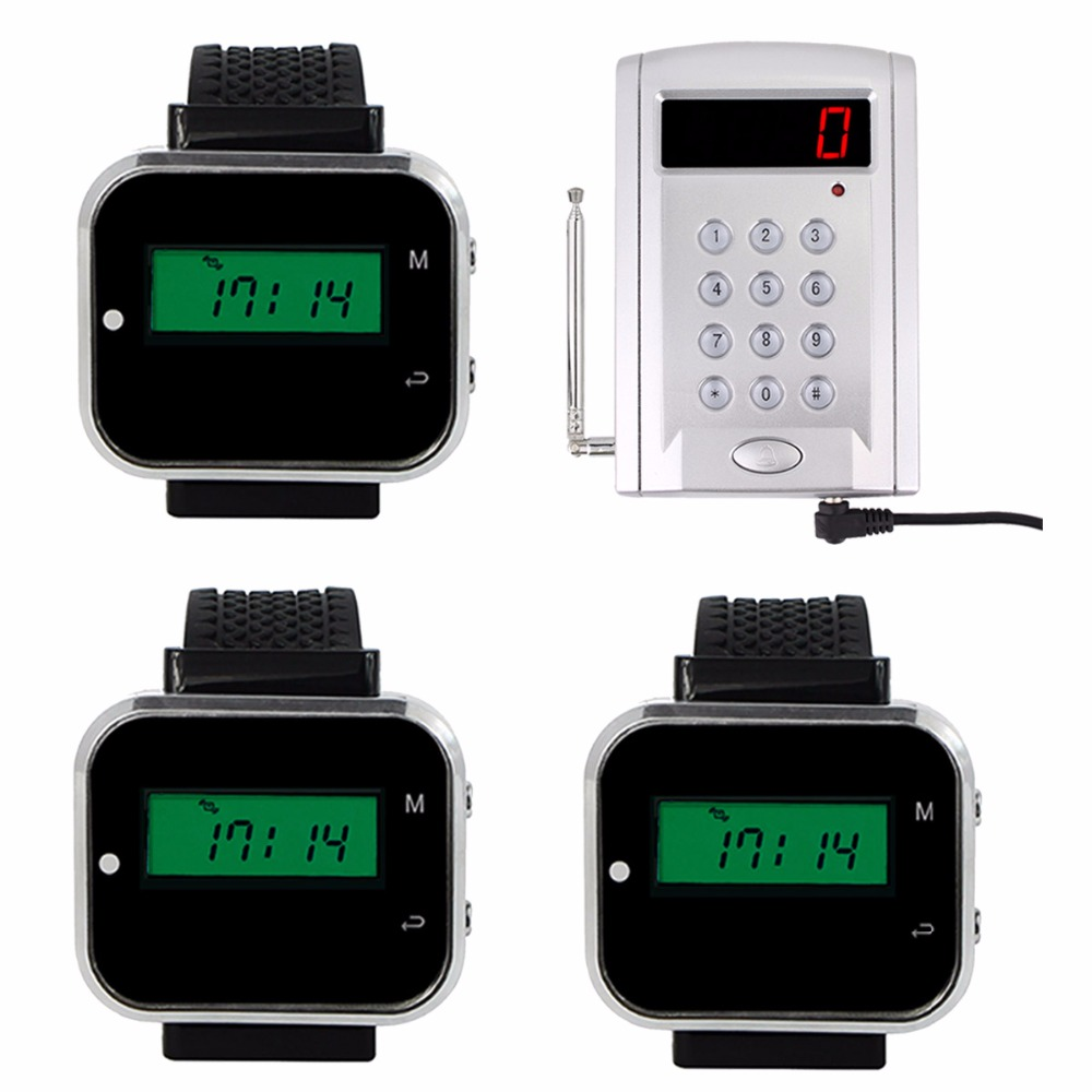 Wireless Factory Cafe Call System Keypad Call Transmitter Button Pager 1 Keyboard Transmitter +3 Watch Receiver F3304A-3F3300A wireless pager system 433 92mhz wireless restaurant table buzzer with monitor and watch receiver 3 display 42 call button