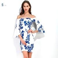 Nouveau mode Slash cou demi Flare Manches robe de femmes Mince robe impression Bleu et blanc porcelaine robe