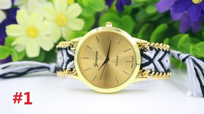 13 kolory genewa panie kobiety splot sukienka zegarek ręcznie pleciony ręcznie tkane moda bransoletka zegarek kwarcowy liny zegarek 100 sztuk/partia w Zegarki damskie od Zegarki na  Grupa 3