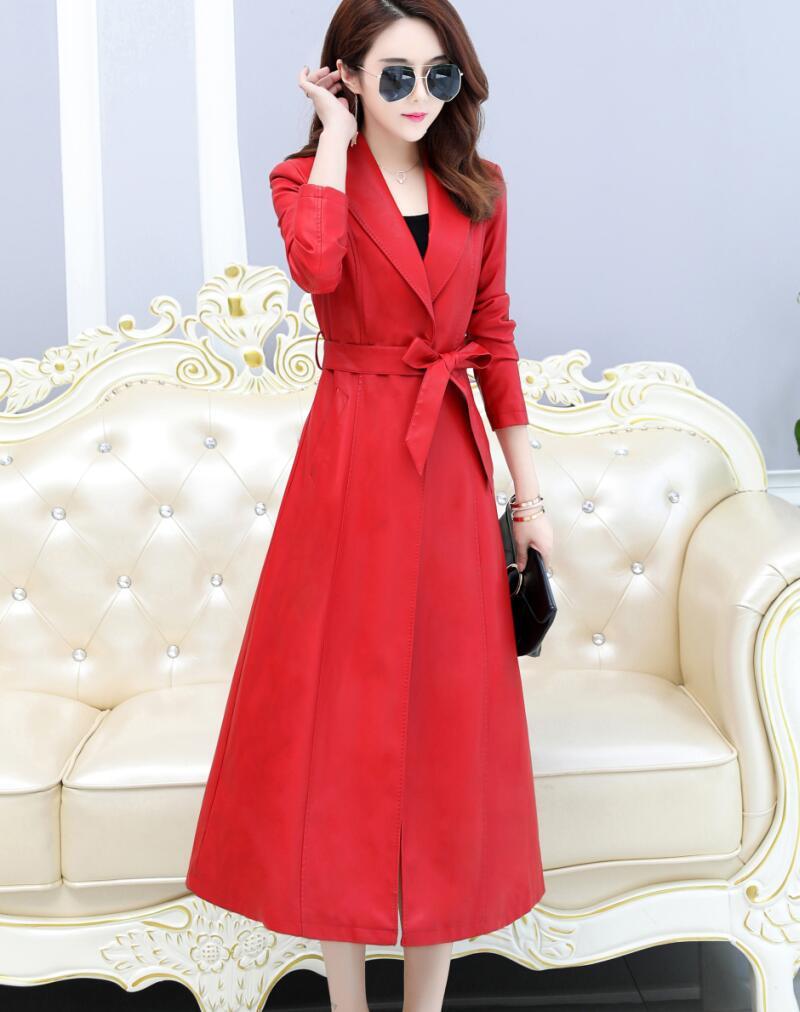 Cuir Vêtements rouge La Longue Manteau Mince Moto Femmes Noir Nouveau Survêtement Veste Noir Oaired Plus En 2019 Féminins Taille nAUx4Rw4q