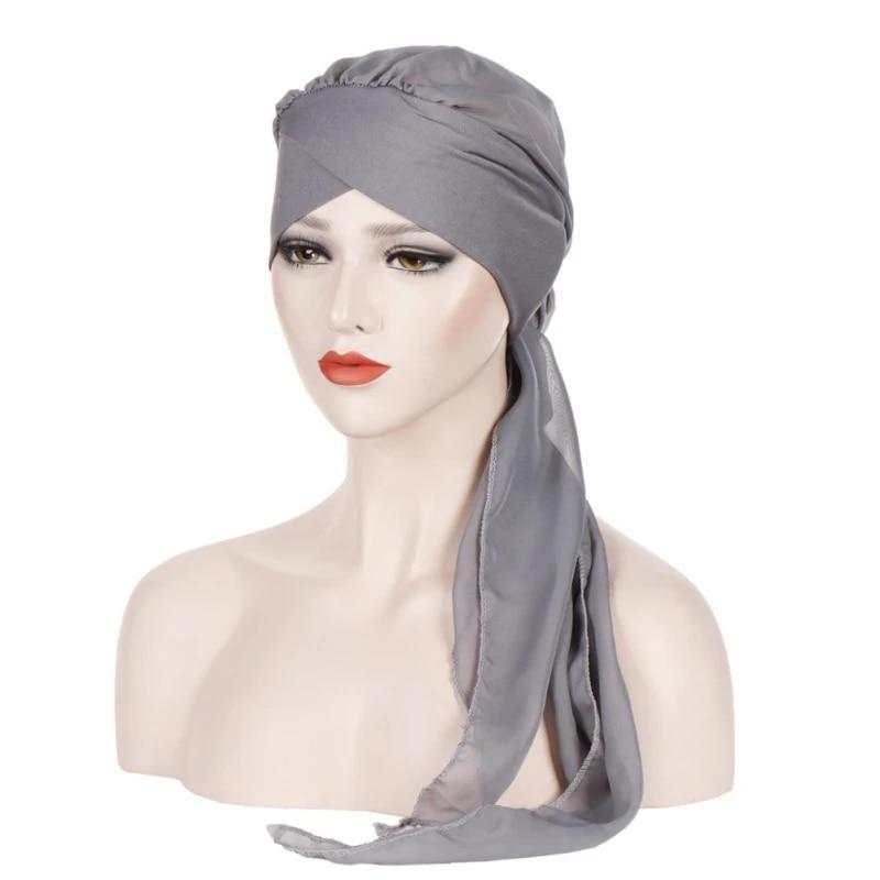 Women Turban Hat Muslim Bandana Headscarf Flower Hijab Head Cover Wrap Cap Shawl