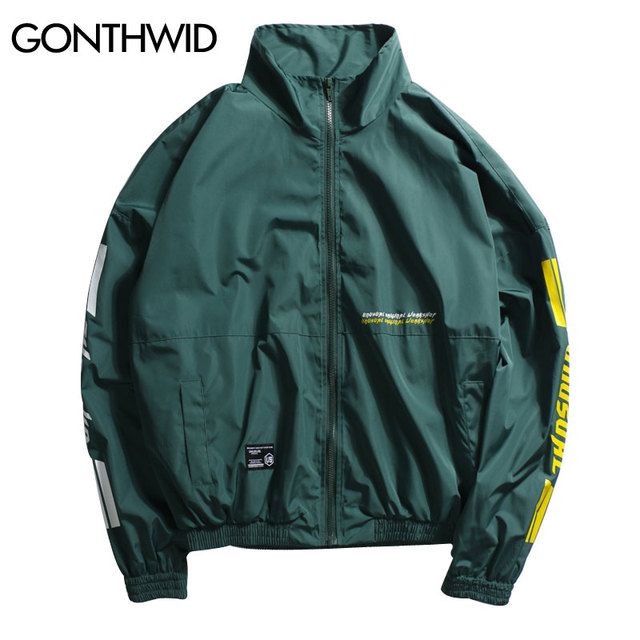 dd89ae21a546 GONTHWID Vintage Full Zip Up Track Jacket Mens Stand Collar Windbreaker  Jackets Hip Hop Loose Coats Streetwear Green Red Black