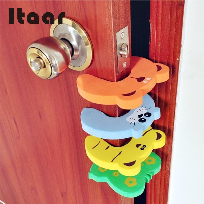 Baby Kids Safety Protect Hit Guard Lock Clip Edge EVA Animal patterns Cute Door clamp Safe Card Door Stopper