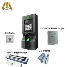 F8 доступа по отпечаткам пальцев Управление комплект с магнитным замком и Питание, ПК, кнопка выхода, кронштейн