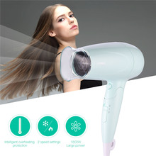 Portable 1600W Large Power Hair Dryer Folding Handle Compact Blower Hot Cold Hair Care Styling Tools with Wind Collecting Nozzle