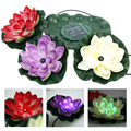 Solar Power Color Changing Floating LED Lotus Light Flower Lamp Floating Garden Pool Nightlight Garden Light Lamp solar lights