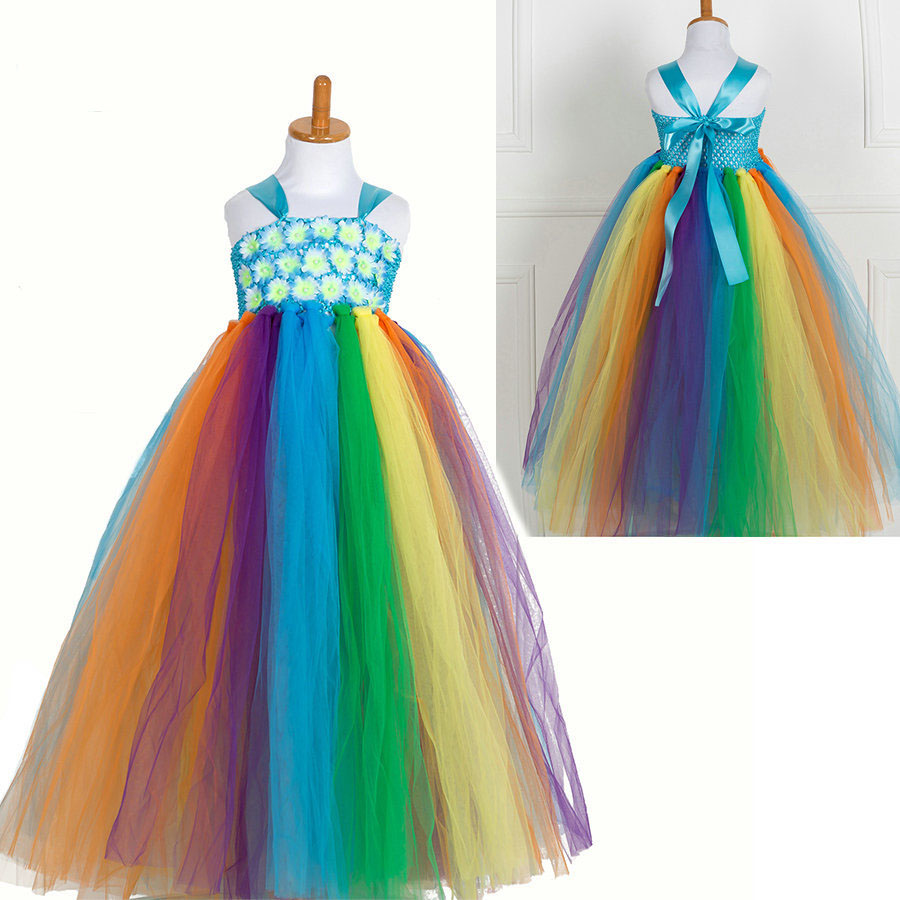 Fashion rainbow flower crochet tutu tulle little girls ball gown dresses for birthday party