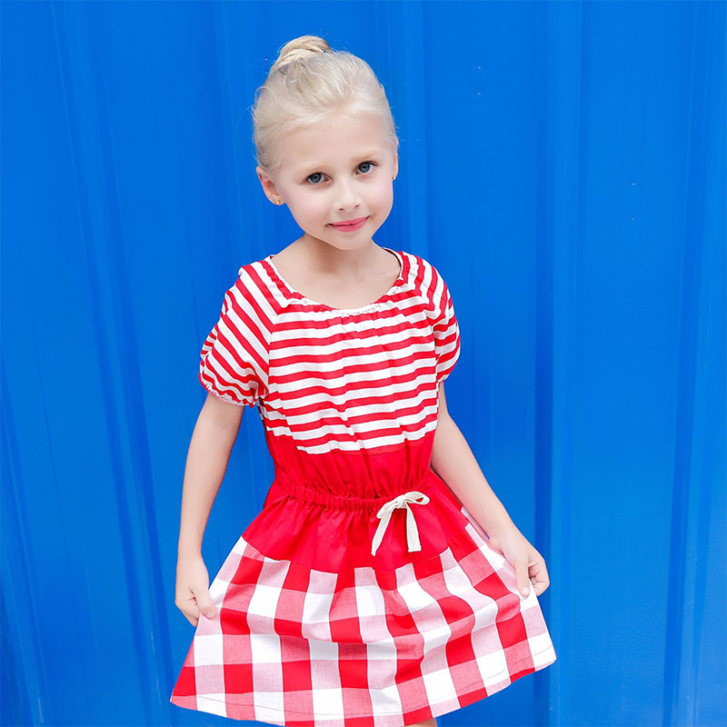 Baby Girls Summer Dresses Sweet A Line Knee Length Children Dress 2018 Fashion Casual O-Neck Cotton Kids Floral Clothing QZ8007